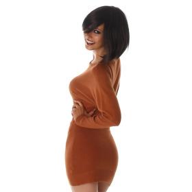 Jela London Damen Pulloverkleid Stretch tailliert zart, Camel 36/38