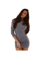 Jela London Damen Pulloverkleid Stretch tailliert zart, Grau 36/38