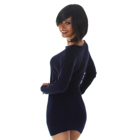 Jela London Damen Pulloverkleid Stretch tailliert zart, Blau 36/38