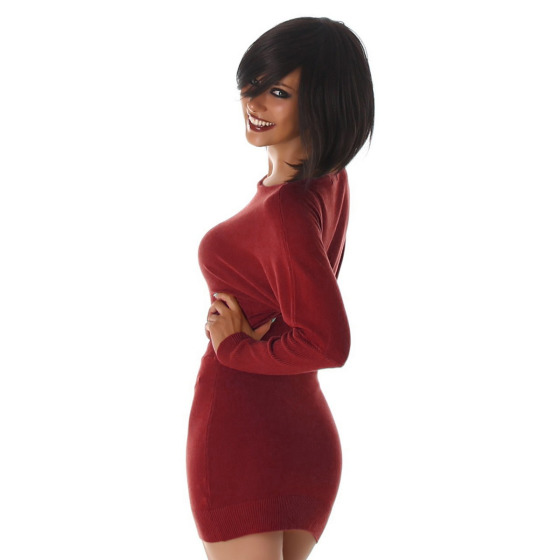 Jela London Damen Pulloverkleid Stretch tailliert zart, Rot 36/38