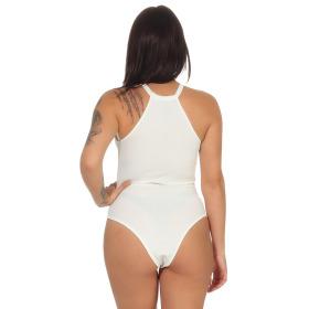 StyleLightOne Damen Sexy Body Schnürung Erotik Stretch Ripp, Weiß, 34 36 (M)