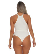 StyleLightOne Damen Sexy Body Schnürung Erotik Stretch Ripp, Weiß, 36 38 (L)