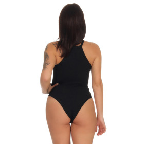 StyleLightOne Damen Sexy Body Schnürung Erotik Stretch Ripp, Schwarz, 34 36 (M)
