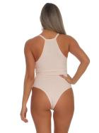 StyleLightOne Damen Sexy Body Schnürung Erotik Stretch Ripp, Rosa, 34 36 (M)
