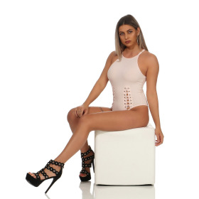StyleLightOne Damen Sexy Body Schnürung Erotik Stretch Ripp, Rosa, 36 38 (L)