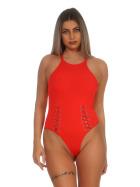 StyleLightOne Damen Sexy Body Schnürung Erotik Stretch Ripp, Rot, 34 36 (M)