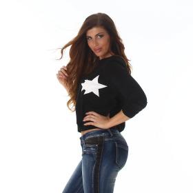 StyleLightOne Damen Pullover kurz mit Kunstleder Sternen-Motiv Relaxed, M
