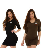 StyleLightOne Damen Kapuzenkleid Strick Stretch Streifen dünn tailliert (34-40)