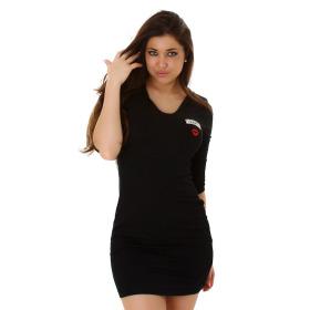 SL1 Damen Tailliertes Kapuzenkleid Stretch dünn Kussmund Army, Schwarz 36 38