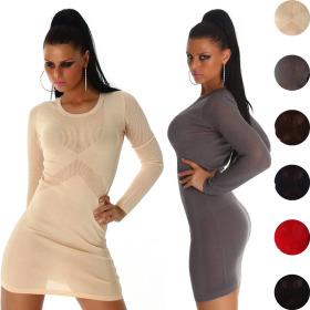 Jela London Damen Strickkleid Transparent Mesh Minikleid...