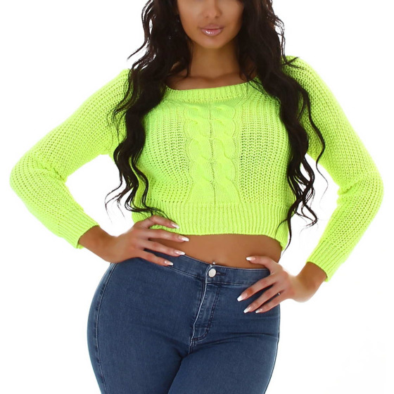 Jela London Damen Crop-Top Langarm Strickpulli Pullover bauchfrei, Neongelb