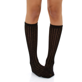 SANSelle Damen Wadenstrumpf lange Socken Gold Glitzer...