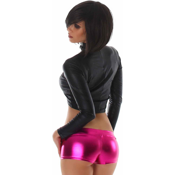 Jela London Wetlook GoGo Hotpants Shorts kurz Glanz metallic, Pink L (38/40)