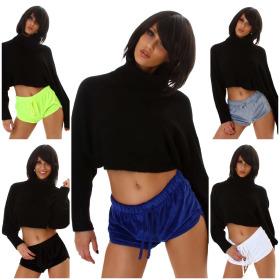 Jela London Damen Nicki Hotpants Shorts Velour Samt Yoga...