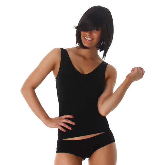 Power Flower Damen Sport-Top Freizeit Stretch Slimming, Schwarz 30-34 (S/M)