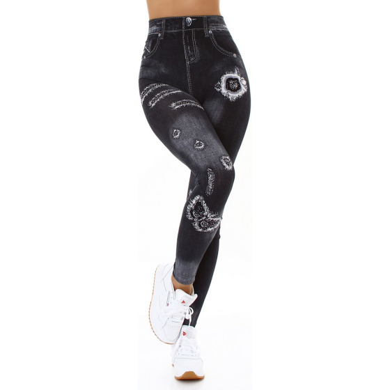 Jela London Damen Leggings Strass Glitzer Geblümt Jeggings 36-38, 8014 Schwarz