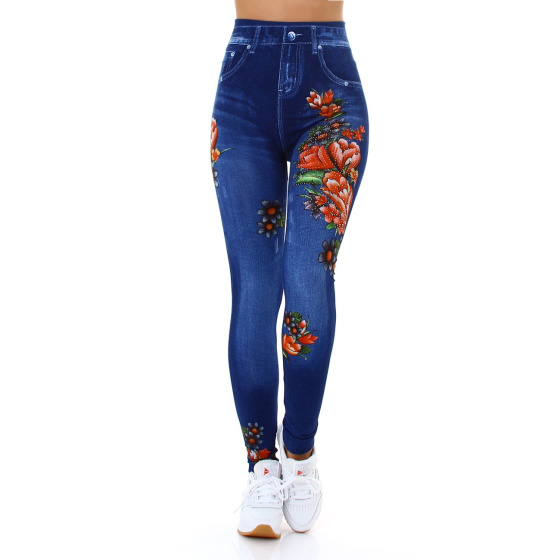 Jela London Damen Leggings Strass Glitzer Geblümt Jeggings 36-38, 8021 Blau