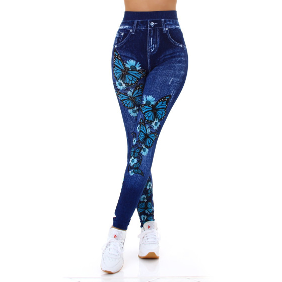 Jela London Damen Leggings Strass Glitzer Geblümt Jeggings 36-38, 8025 Türkis