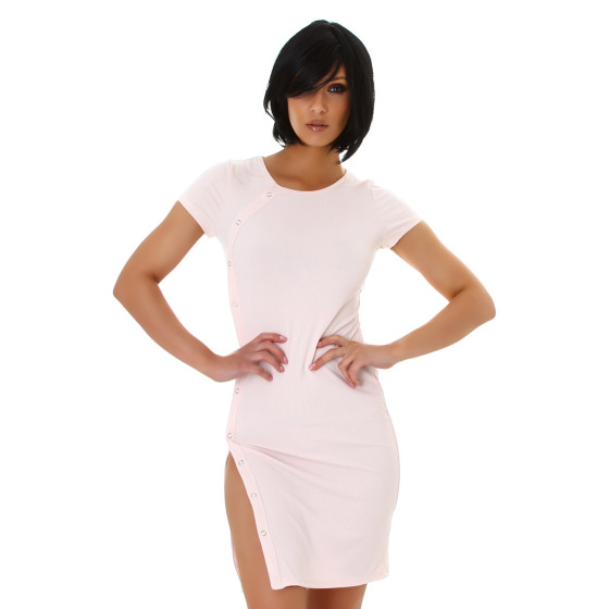 Jela London Damen Sommerkleid Beinschlitz variabel Stretch, Rosa 34-36 (S)