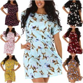 StyleLightOne Damen Sommerkleid Blumen Kurzarm Tailliert