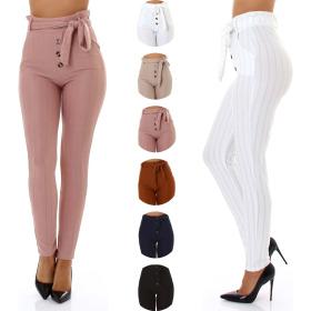 StyleLightOne Damen Paperbag Hose Glitzer-Streifen (36-40)