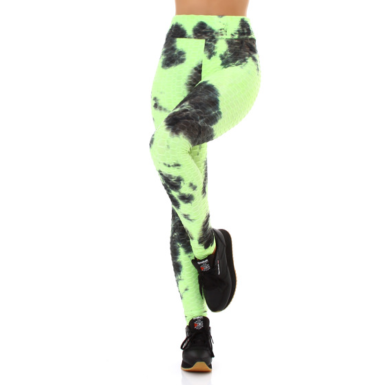 Jela London Damen Leggings lang Push-Up Batik High-Waist, Neongrün 36-38 (S/M)