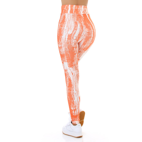 Jela London Damen Leggings lang Push-Up Batik High-Waist, Orange 36-38 (S/M)