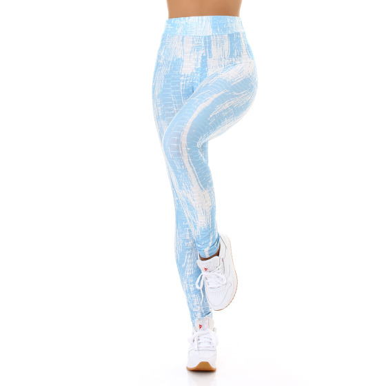 Jela London Damen Leggings lang Push-Up Batik High-Waist, Türkis 36-38 (S/M)
