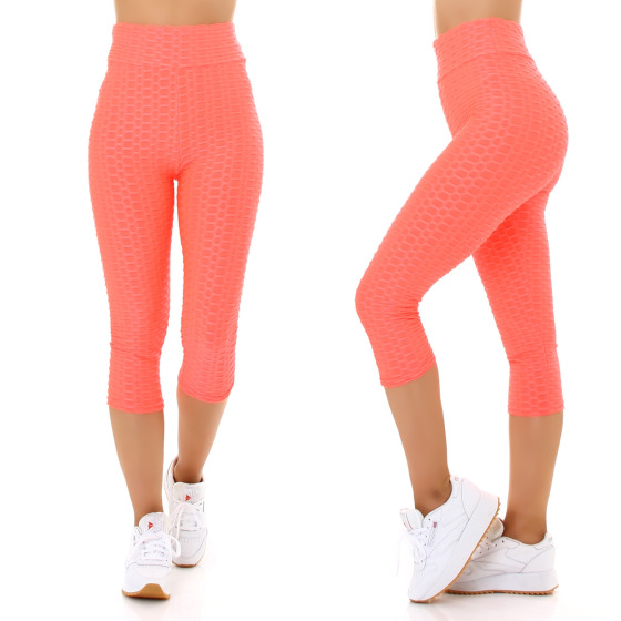 Jela London Damen Capri-Leggings Push-Up Batik High-Waist, Neon-Apricot 36-38 (S/M)