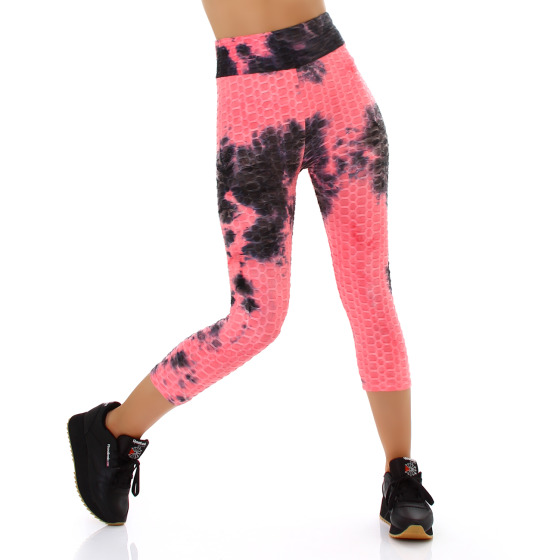 Jela London Damen Capri-Leggings Push-Up Batik High-Waist, Neonpink 38-40 (L/XL)