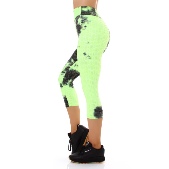 Jela London Damen Capri-Leggings Push-Up Batik High-Waist, Neongrün 36-38 (S/M)