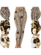 Jela London Damen Paperpag Stretchhose High-Waist Ketten-Musterung