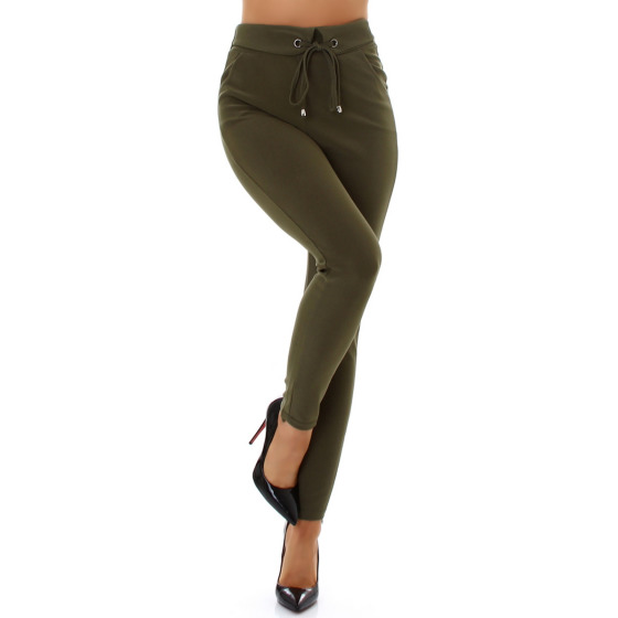 Jela London Damen High-Waist Stretch-Hose Taillenhose Deko-Kordel, Grün 36-38 (S/M)