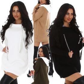 Enzoria Damen Oversize Pulloverkleid Kapuze...