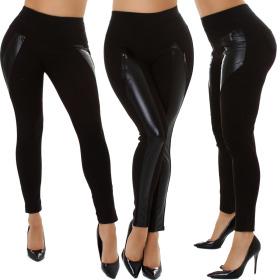 Jela London Damen Wetlook Stoff Leggings Treggings...