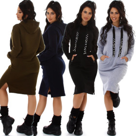 Jela London Damen Kapuzenkleid lang Pulloverkleid Glitzer