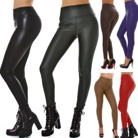 Damen Wetlook Kunstlederhose Push-Up Slim-Fit Skinny