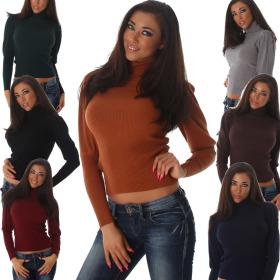 Jela London Damen Pullover kurz Puffärmel Feinripp...