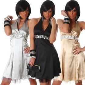 Jela London Damen Satin Abendkleid Glitzer A-Linie...