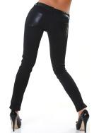 Jela London Damen Wetlook Kunstleder-Hose Leder-Look Glanz Low-Waist Skinny