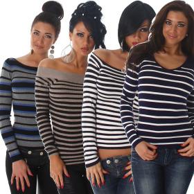Jela London Damen Streifen Pullover Sweatshirt Stretch...