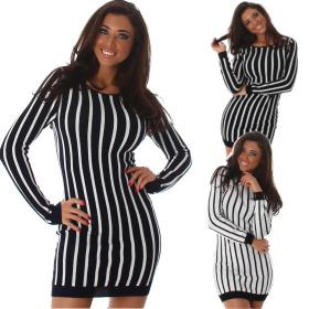 Enzoria Damen Feinstrick Stretch-Kleid Etui Streifen