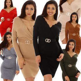 Enzoria Damen Cocktail-Kleid Etuikleid V-Ausschnitt...