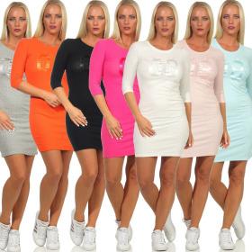 Jela London Damen Freizeit-Kleid College-Style Feinripp...