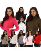 Jela London Damen Slim-Fit Pullover Rollkragen Feinripp-Streifen (34-38)