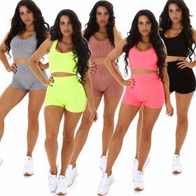 Jela London Damen Fitness Sport-Set Crop-Top High-Waist...