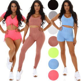 Jela London Damen Fitness Sport-Set Crop-Top High-Waist Leggings (34-40)