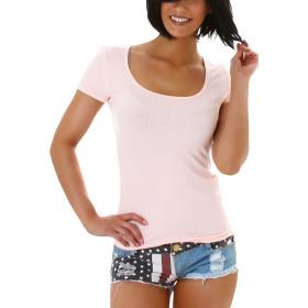 Jela London Damen Sommer T-Shirt Stretch Rundhals Kurzarm