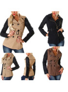 Damen Trenchcoat Jacke Kunstlederärmel Reißverschluss & Stehkragen (34-40)