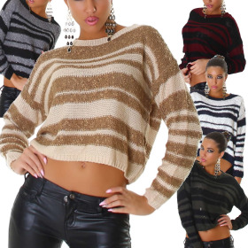 Jela London Damen Streifen-Pullover kurz bauchfrei...
